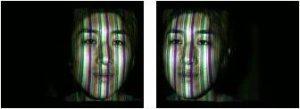 色スリット光を投影した被写体のステレオ画像